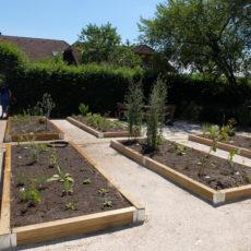 Bepflanzte Beete am Stehrerhof
